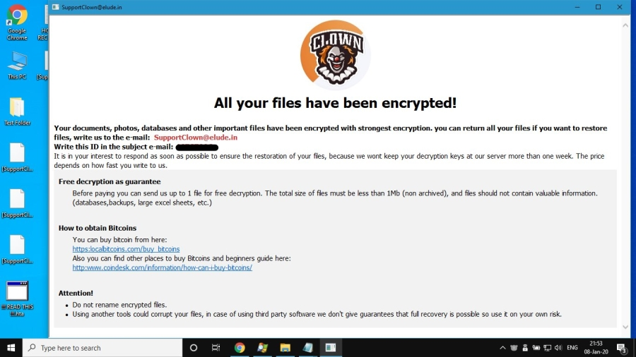 Clown Ransomware note