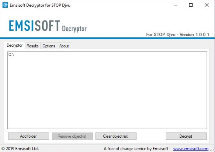 Emsisoft's decryption tool