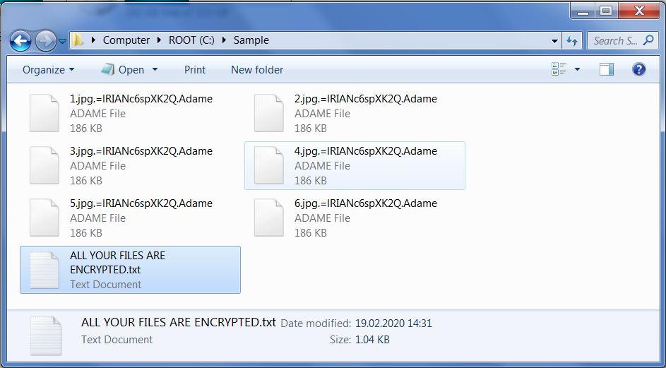 Adame encrypted files