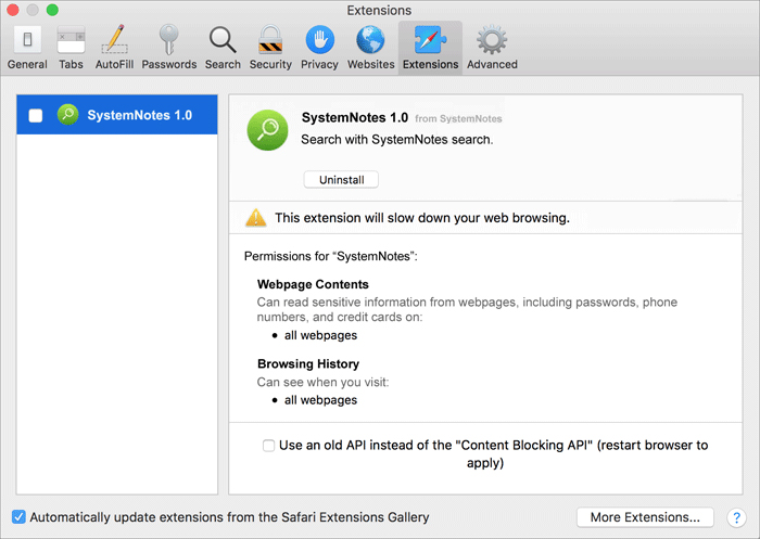 uninstall SystemNotes 1.0