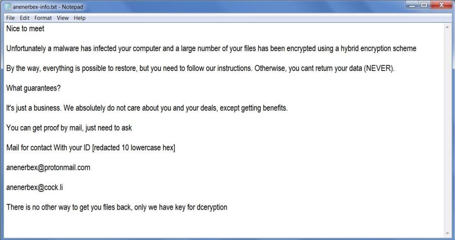 remove Anenerbex ransomware
