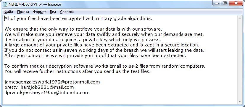 remove Nefilim ransomware