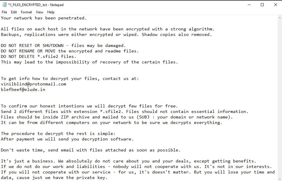 remove Sfile2 ransomware