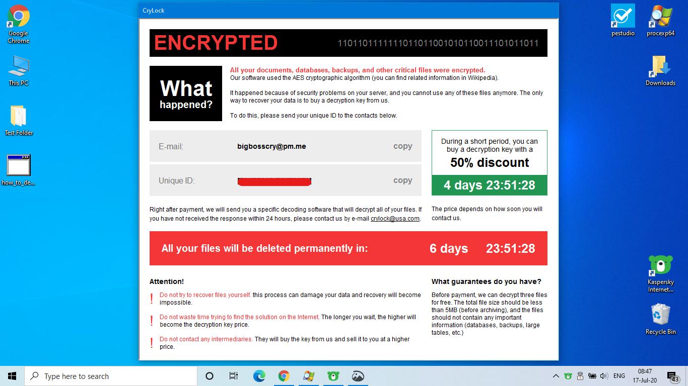 remove CryLock ransomware