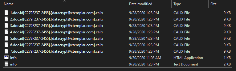 Calix encrypted files