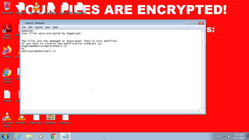 DogeCrypt ransom note
