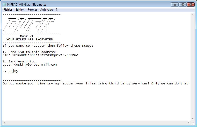 remove Dusk ransomware