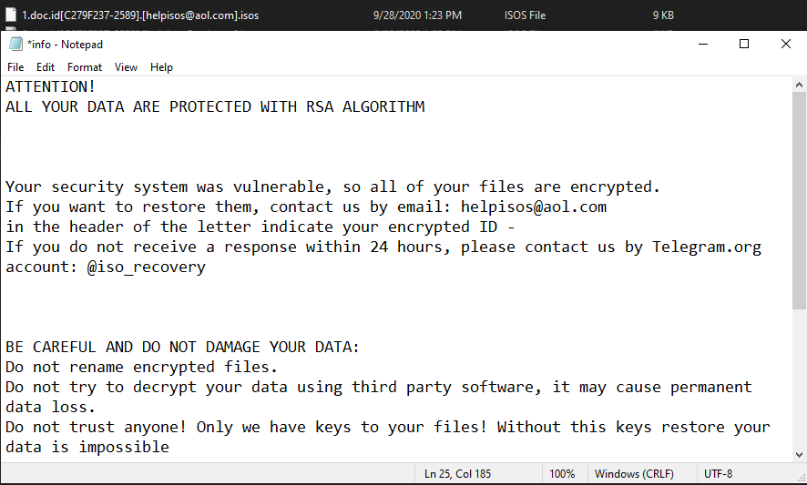 remove Isos ransomware