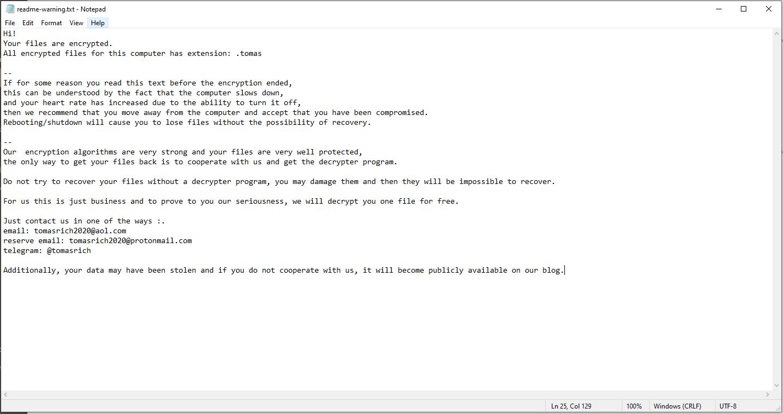 إزالة tomas ransomware