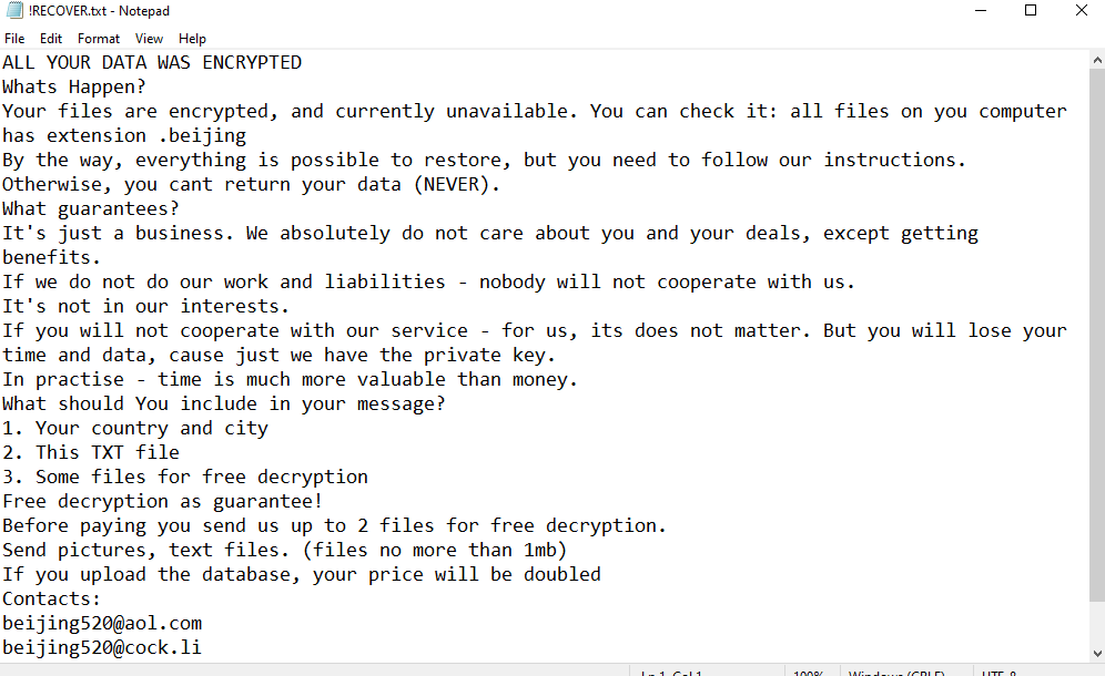 remove Beijing ransomware