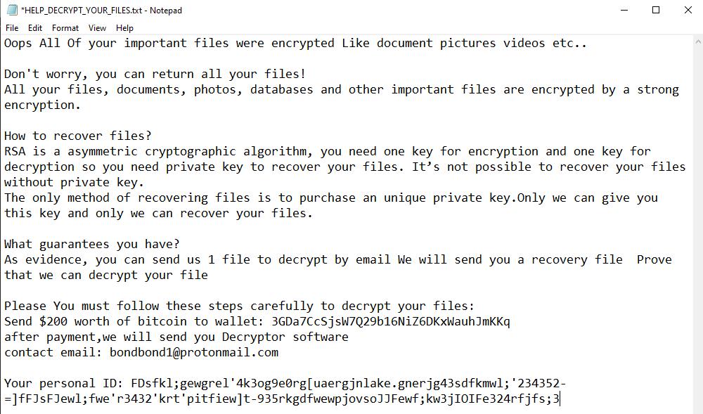 remove Bondy ransomware