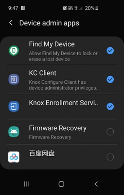 remove administrator privileges on android