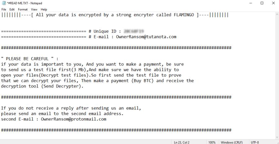 remove Flamingo ransomware