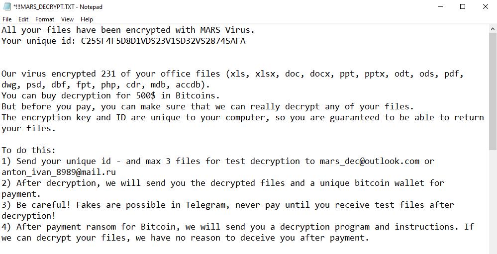 remove Mars ransomware