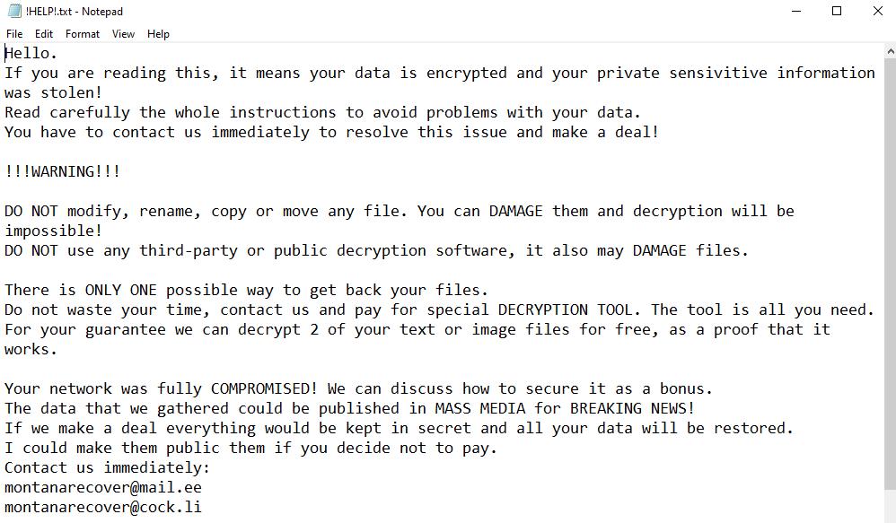 remove Montana ransomware