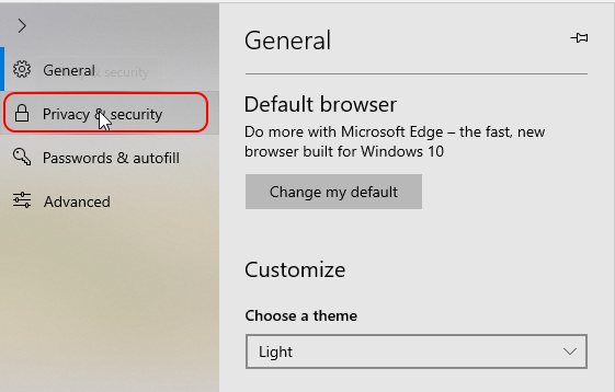 stop trackers in Microsoft Edge