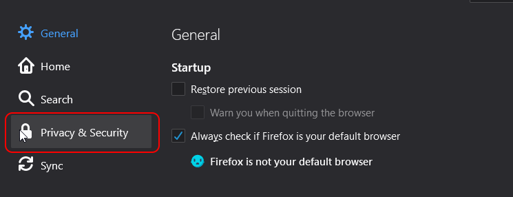 do not track Mozilla Firefox