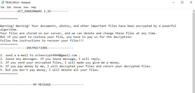 remove Oct ransomware