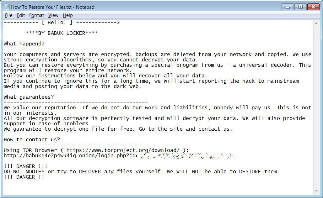 remove Babuk Locker ransomware