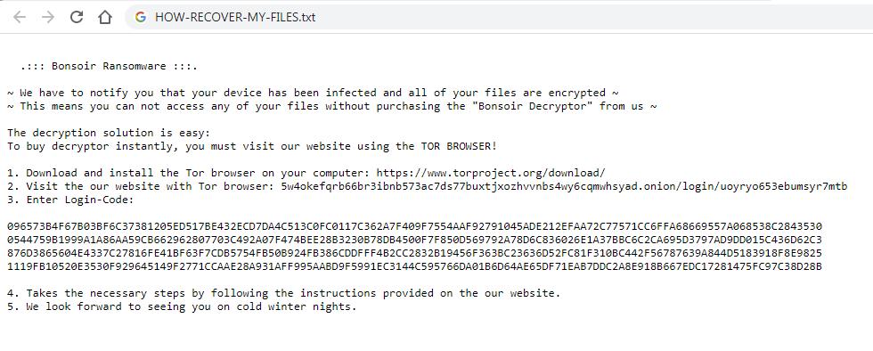 remove Bonsoir ransomware
