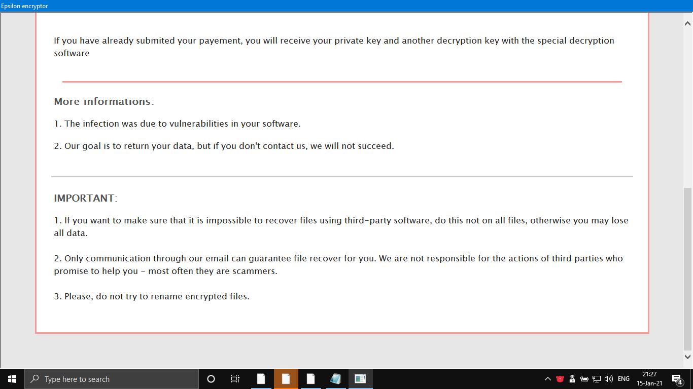 remove Epsilon ransomware