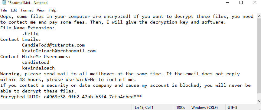 remove Hello (WickrMe) ransomware