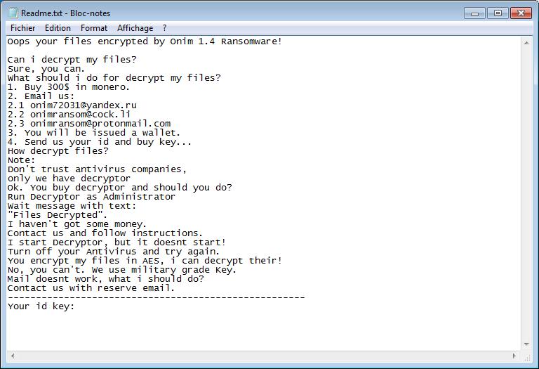 remove Onim ransomware