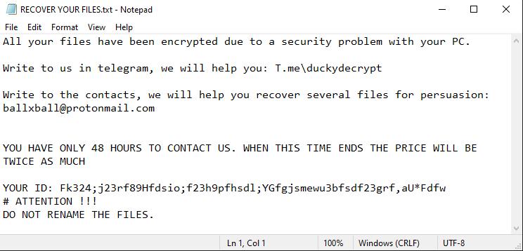 remove Ducky ransomware
