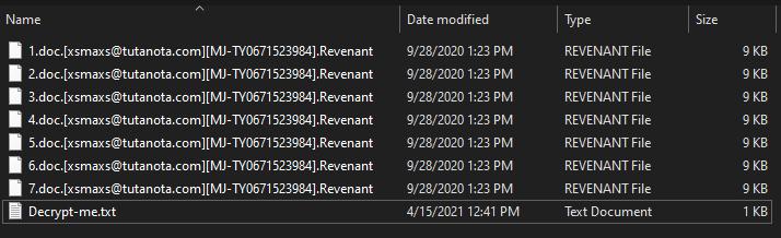 Revenant ransomware