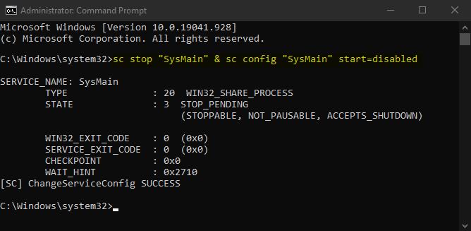 rette op 100% diskbrug på grund af SysMain-tjenesten
