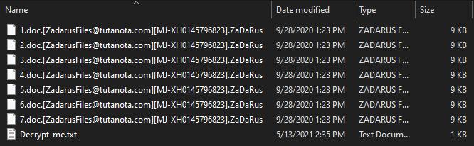 ZaDaRus ransomware