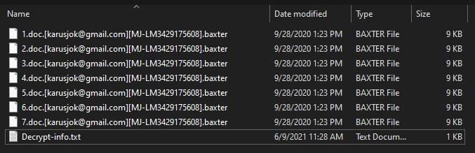 Baxter ransomware