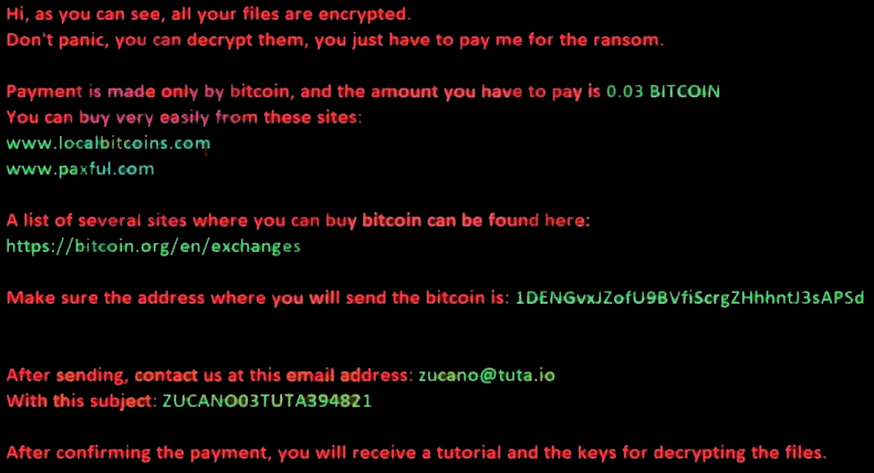 ZuCaNo ransomware
