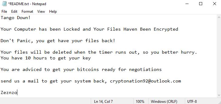 Zeznzo ransomware