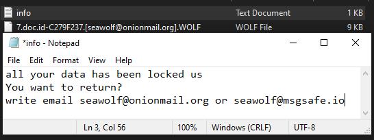 Wolf ransomware