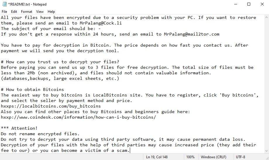 !palang ransomware